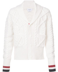 Thom Browne Shawl Collar Cardigan With Aran Cable In Fine Merino Wool And Red White And Blue Cuff Stripe
