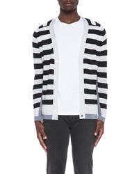 Striped wool cardigan in off white multi medium 20601