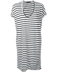 White and Black Horizontal Striped Casual Dress
