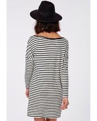 Missguided Long Sleeve Oversized T Shirt Dress Monochrome Stripe