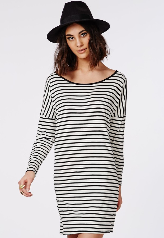 e77b5d07ece ... and Black Horizontal Striped Casual Dresses Missguided Long Sleeve Oversized  T Shirt Dress Monochrome Stripe ...