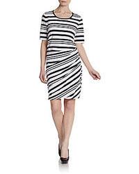 Short sleeve striped shift dress medium 22408