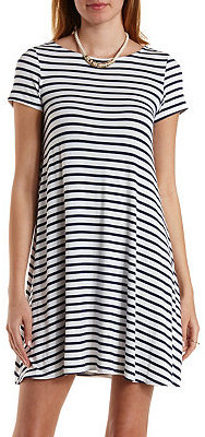 f836d6ff91a26 ... White and Black Horizontal Striped Casual Dresses Charlotte Russe  Striped Trapeze T Shirt Dress ...