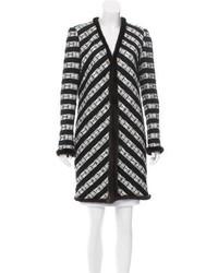 Chanel Mink Fur Trimmed Striped Coat