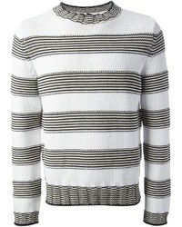 White and Black Horizontal Striped Crew-neck Sweater