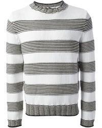 White and Black Horizontal Striped Crew-neck Sweater
