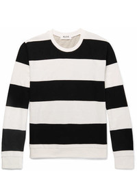 Aloye Slim Fit Black And White Cotton Grey Cotton And Yak Blend Sweater