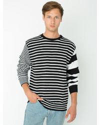 American apparel recycled cotton mixed stripe pullover medium 171453