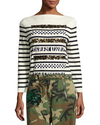 Marc Jacobs Animal Sequin Striped Sweater Navyoff White