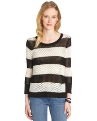Jamison Black And White Stripe Borneo Scoop Neck Sweater