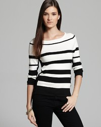 Joan Vass Black And White Stripe Sweater