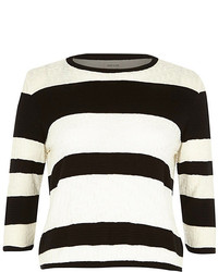 River Island Black Stripe Textured Stitch Top