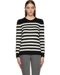 Saint Laurent Black White Striped Cashmere Sweater