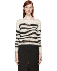 Saint Laurent Black White Striped Cropped Sweater