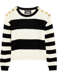 Moschino Boutique Cropped Striped Ribbed Wool Sweater