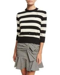 Cape dropped stitch striped sweater blackwhite medium 1159131