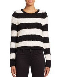 Alice + Olivia Carl Fuzzy Cropped Striped Sweater