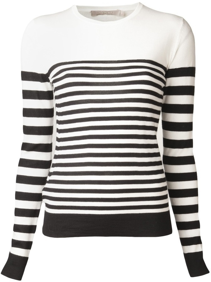 Jason Wu Cashmere Striped Pullover Sweater