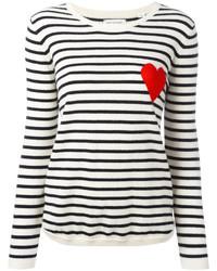 Chinti Parker Cashmere Breton Stripe Heart Jumper