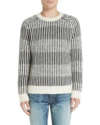 Saint Laurent Contrast Rib Wool Alpaca Blend Sweater
