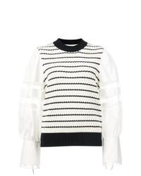 Sea Contrast Sleeve Striped Sweater