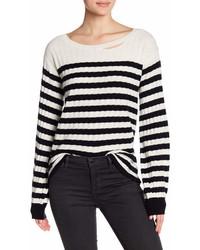Pam & Gela Destroyed Striped Rib Wool Blend Sweater