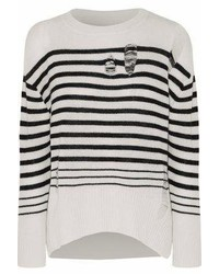 Enza Costa Distressed Striped Wool And Cashmere Blend Sweater