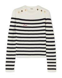 Miu Miu Embroidered Striped Ribbed Wool Sweater