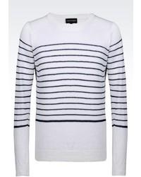 Giorgio Armani Sweater In Striped Stockinette Linen