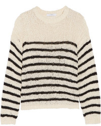 IRO Lolita Striped Open Knit Cotton Blend Sweater Off White