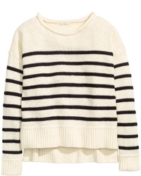 H&M Knit Sweater Blackstriped Ladies