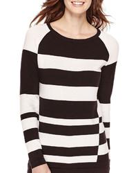 Liz Claiborne Long Sleeve Graphic Striped Sweater