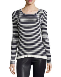 See by Chloe Long Sleeve Striped Sweater Navywhite