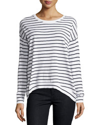 Minnie Rose Long Sleeve Striped Sweater Whitenavy