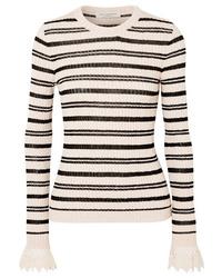 Philosophy di Lorenzo Serafini Med Striped Ribbed Cotton Blend Sweater