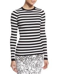 Michael Kors Michl Kors Collection Striped Crewneck Sweater Whiteblack