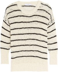 IRO Odessa Striped Open Knit Cotton Blend Sweater White