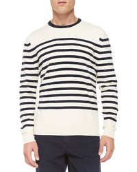 Rag bone chase striped crewneck sweater white medium 185949