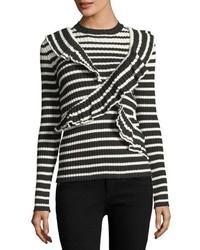 MSGM Ruffle Front Striped Rib Knit Sweater