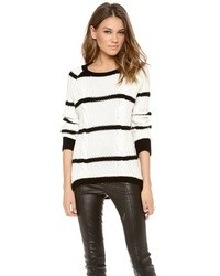 Shae Sh Striped Cable Cashmere Sweater