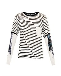 Tibi Stripe And Tattoo Print Cotton Sweater