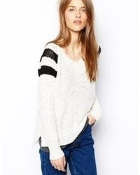 Vila Stripe Shoulder Falisy Sweater Snow White W Black
