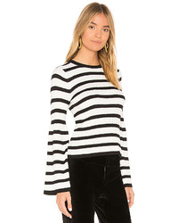 Avec Les Filles Striped Bell Sleeve Sweater