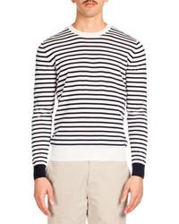 Ami Striped Crewneck Sweater Navywhite