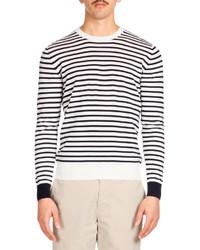 Striped crewneck sweater navywhite medium 185950
