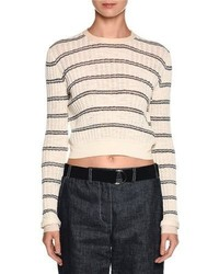 Giorgio Armani Striped Crewneck Sweater Off White