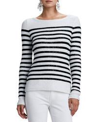 Oscar de la Renta Striped Sequined Long Sleeve Sweater