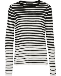Vince Striped Silk And Cashmere Blend Sweater