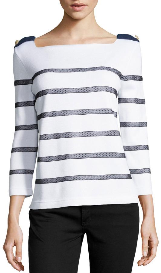 ... White and Black Horizontal Striped Crew-neck Sweaters RED Valentino  Swiss Dot Mesh Striped Sweater Whiteblacknavy ... 5baf767e0