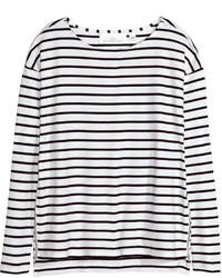 H&M Top With Zips Blackstriped Ladies
